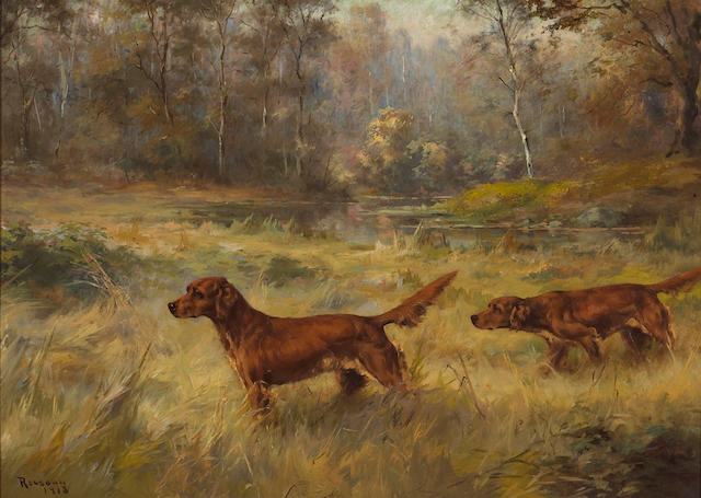 Percival Leonard Rosseau (American, 1859-1937) Irish Setters pointing 20 1/4 x 28 1/4in (51.4 x 71.7cm)