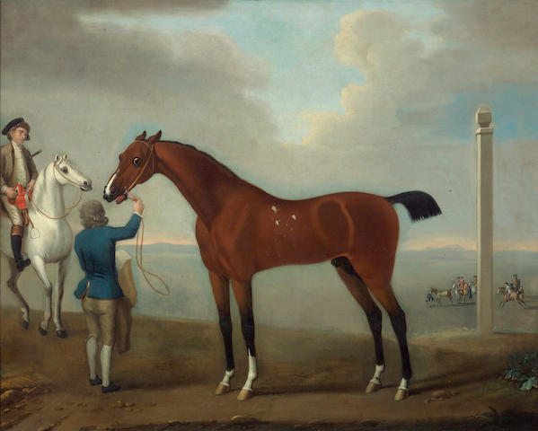 Studio of Thomas Spencer (British, circa 1730-circa 1763) The racehorse 'Flying Childers' with groom and rider, a view of Newmarket beyond 40 x 49 3/4in (101.6 x 126.4cm)