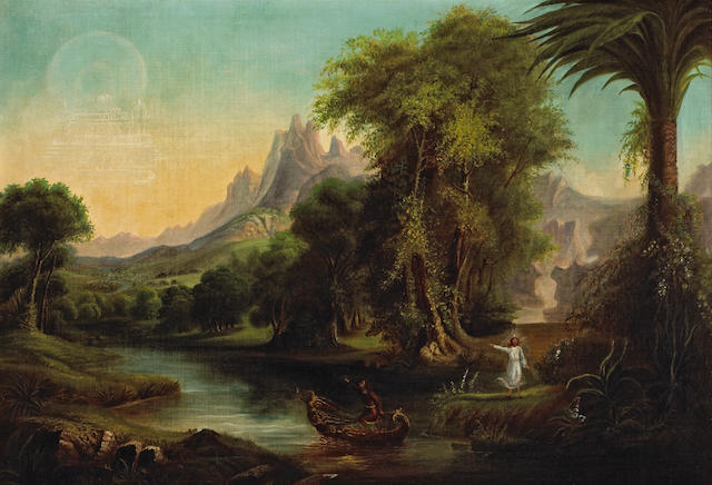 Circle of Thomas Cole (British, 1801-1848) The garden of enchantment