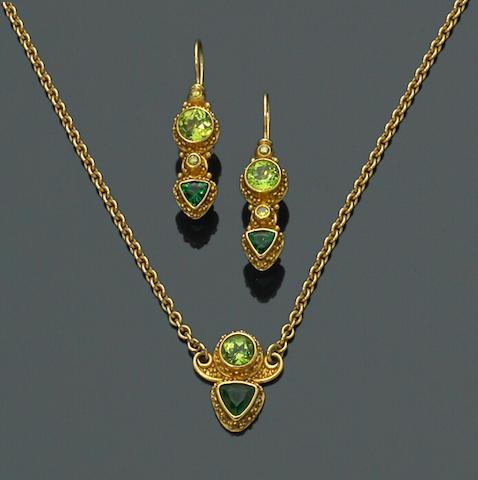 A set of peridot, green tourmaline and colored diamond jewelry, Alix