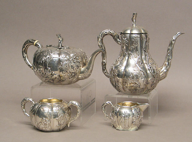 A four-piece export silver tea set  Late Qing/Republic Period, marked Luen Wo