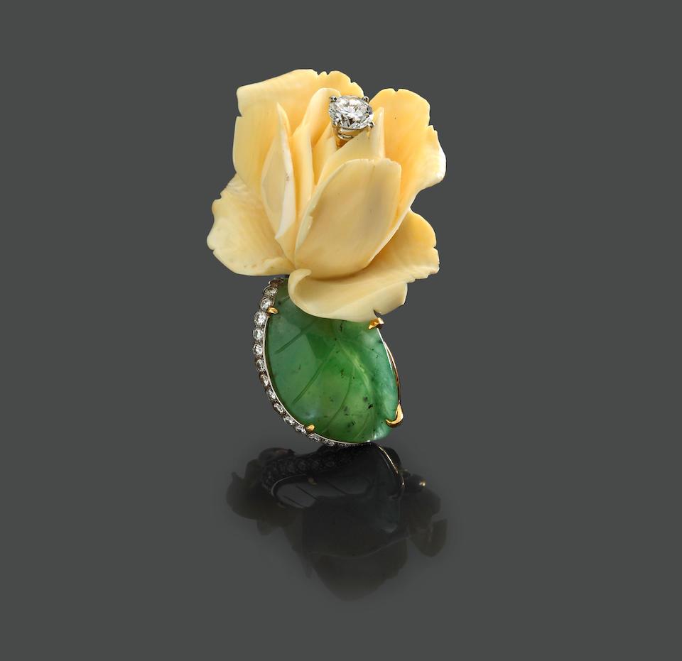 A diamond, ivory and jade clip-brooch, Cartier, Paris
