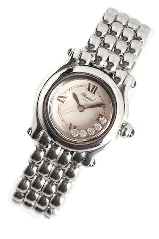 Chopard. A ladies stainless steel quartz bracelet watch with 'floating' diamonds Happy Sport, 2000s