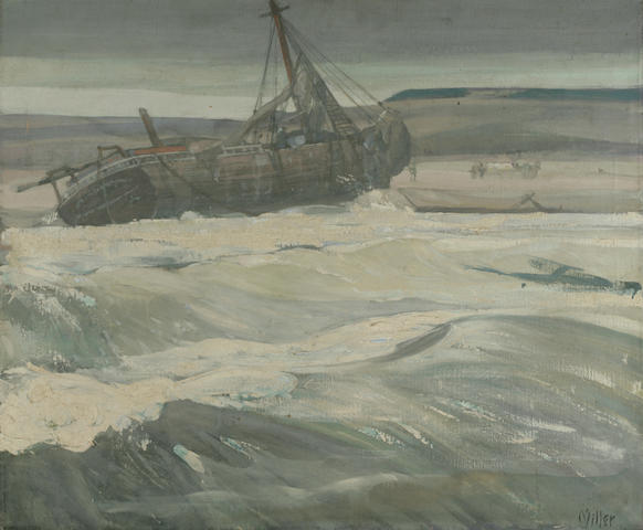 Richard Edward Miller (8175-1943) Fishing Boats Beached at Sea 25 x 30in