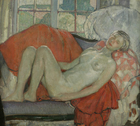 Richard Edward Miller (1875-1943) Reclining Nude 32 x 36in