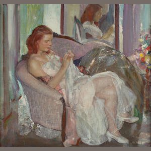 Richard Edward Miller (1875-1943) Young Lady Sewing 30 x 32in