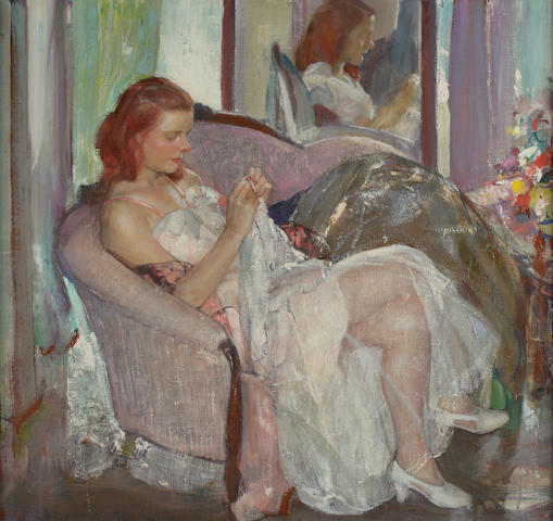 Richard Edward Miller (American, 1875-1943) Young Lady Sewing 30 1/2 x 32 1/2in