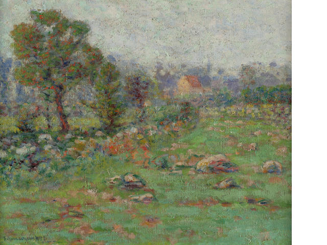 W. Schumacher, Field in Spring, oil on canvas