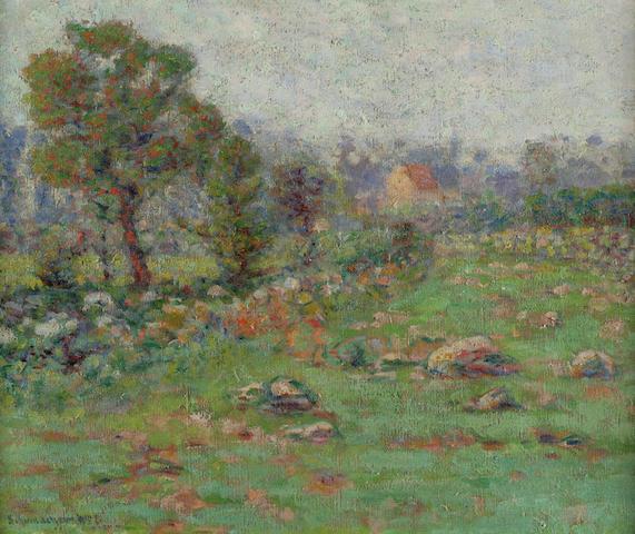 W. Schumacher, Field in Spring, oil on canvas