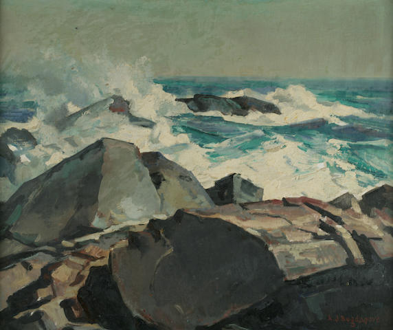Abraham Jacob Bogdanove (Russian/American, 1887-1946) Surf Crashing on Rocks 20 x 24in