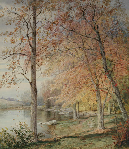 William Trost Richards (American, 1833-1905) Autumn by a Pond 13 3/4 x 11 7/8in