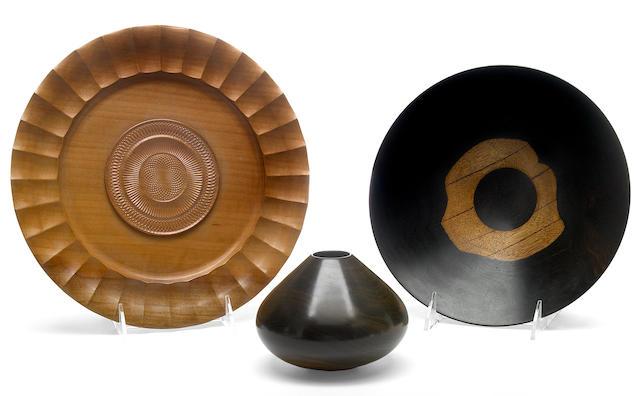 Three turned wood vessels
