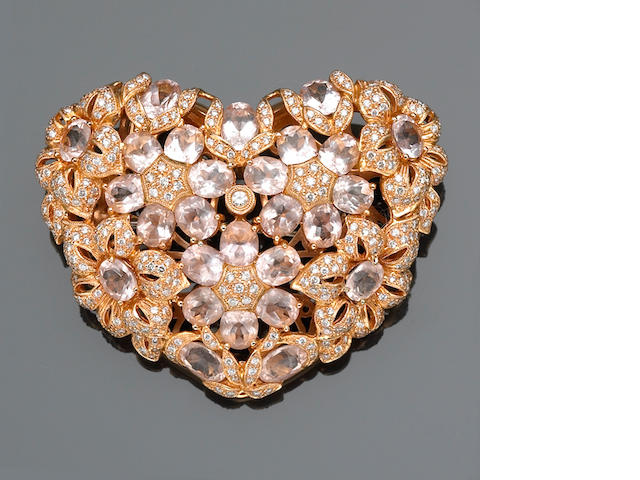 A kunzite and diamond heart motif brooch-pendant-enhancer