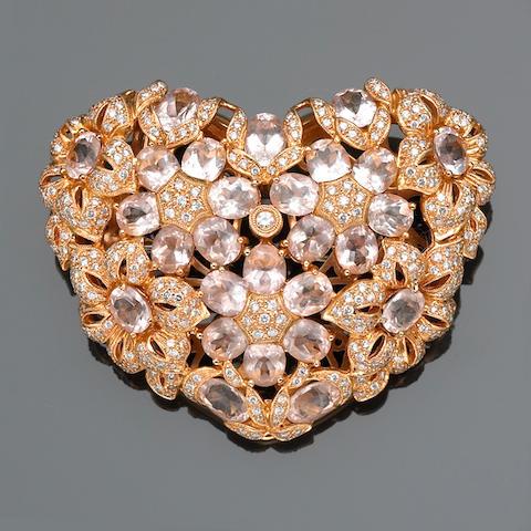 A kunzite and diamond heart motif brooch-pendant-enhancer
