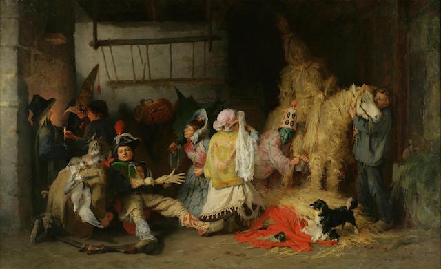 Frederick Arthur Bridgman (American, 1847-1928) Le Carnaval en Bretagne, 1869 27 3/4 x 45 1/4in