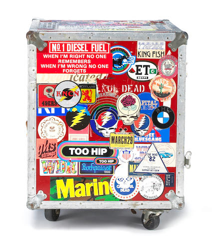 A Rock Scully-owned red flight case used on the road with The Grateful Dead, 1970s-1980s
