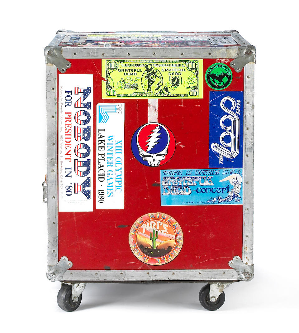 A Rock Scully red flight case used on the road with The Grateful Dead, 1970s-1980s