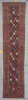 A Kurdish runner West Persia, size approximately 3ft. 2in. x 14ft.