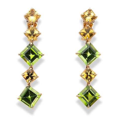 A pair of yellow sapphire and peridot pendant earrings, Paolo Costagli