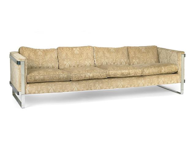 A Modern upholstered chrome sofa