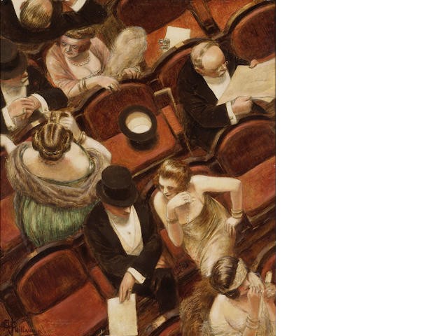 Albert Guillaume (French, 1873-1942) Au theatre 25 3/4 x 21in (65.4 x 53.3cm)