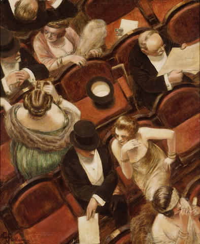 Albert Guillaume (French, 1873-1942) Au théâtre 25 3/4 x 21in (65.4 x 53.3cm)