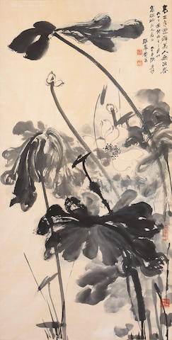 Zhang Daqian (Chang Dai-chien, 1899-1983): Lotus, hanging scroll