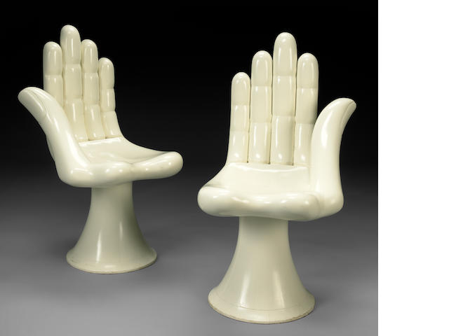 Pedro Friedeberg (Mexican, born 1937) Left Hand; Right Hand, c. 1970 (2) each 36 1/8 x 19 1/8 x 21in