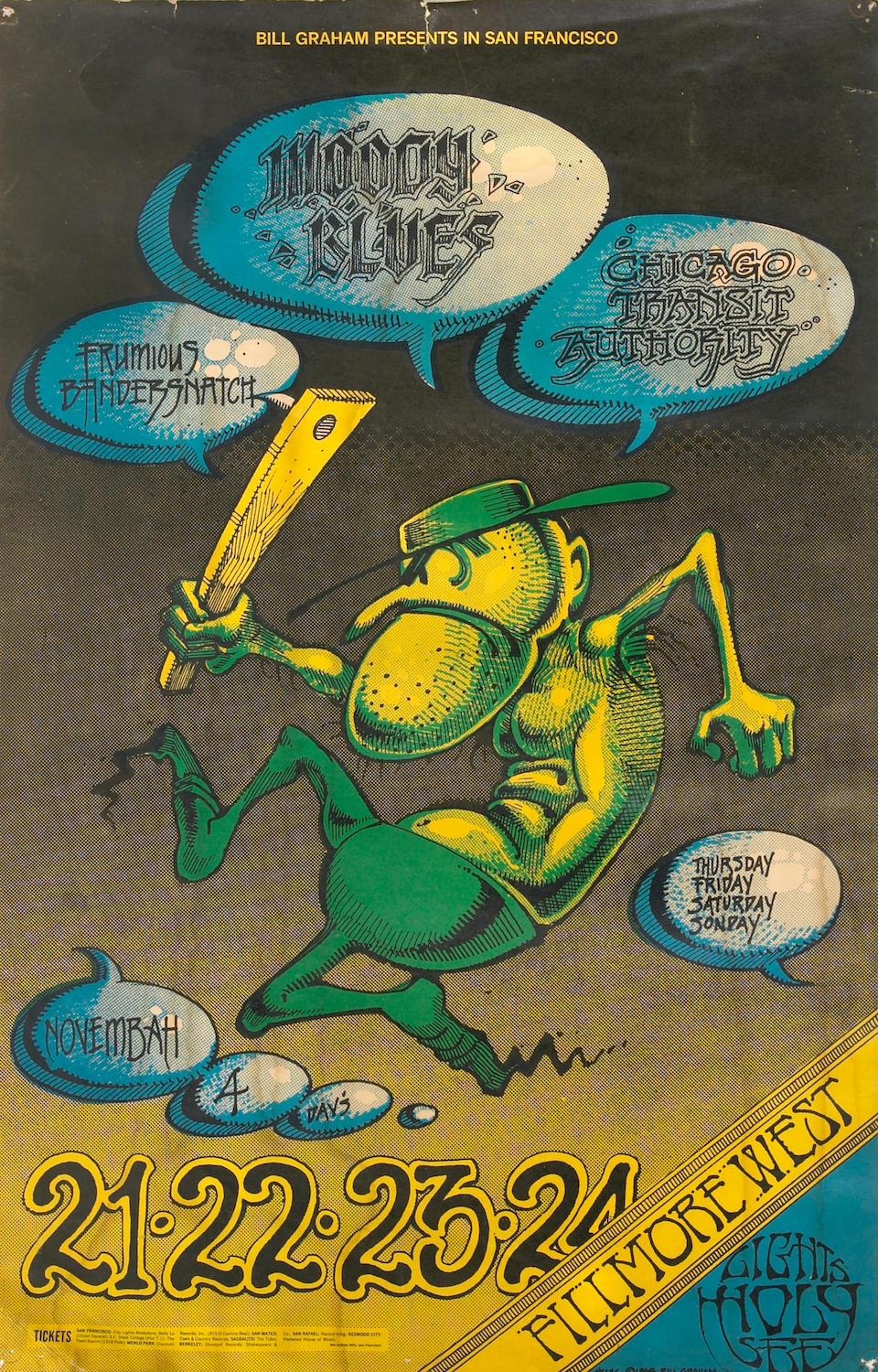 """A Ron """"Pig Pen"""" McKernan group of personally owned posters from when he lived at 710 Ashbury Street, mid-1960s"""
