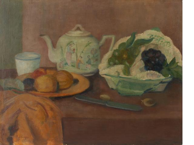 Henri Lebasque (French, 1865-1937) Nature morte à le théierè et aux fruits 16 x 20in (40.6 x 50.8cm)