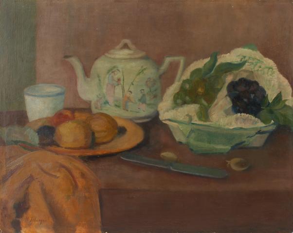 Henri Lebasque (French, 1865-1937) Nature morte à le théière et aux fruits 16 x 20in (40.6 x 50.8cm)