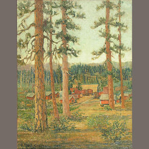Frederick C. Smith, Loggers camp, o/c/bd, 20 x 16in