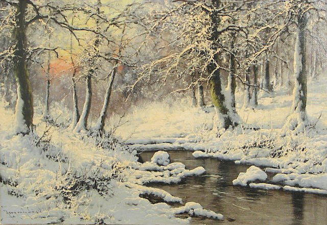 Antal (Laszlo) Neogrady (Hungarian, 1861-1942) A Winter Wonderland 24 x 36in