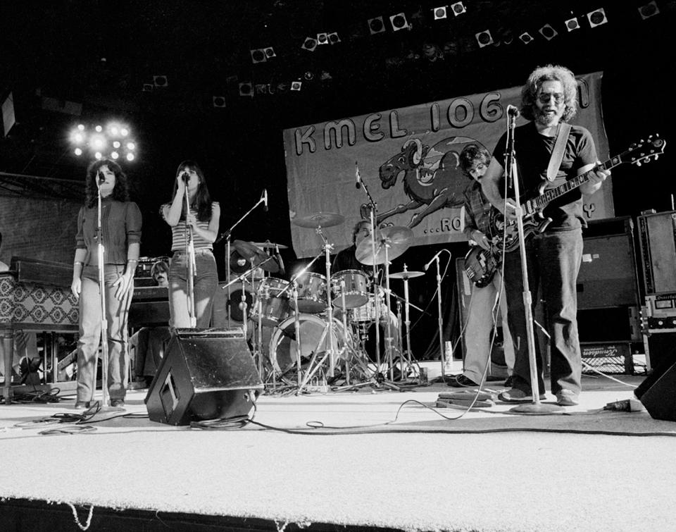 A Jerry Garcia and John Kahn trio of black and white photographs signed by Don Aters, 1982