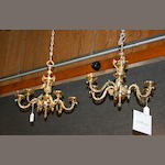 A pair of English brass chandeliers