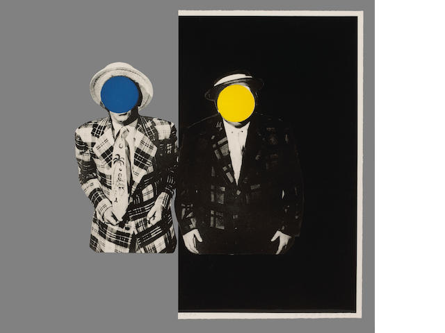 John Baldessari (American, born 1931); Blue Boy with Yellow Boy: One in Hawaiian Tie, One in Dark;