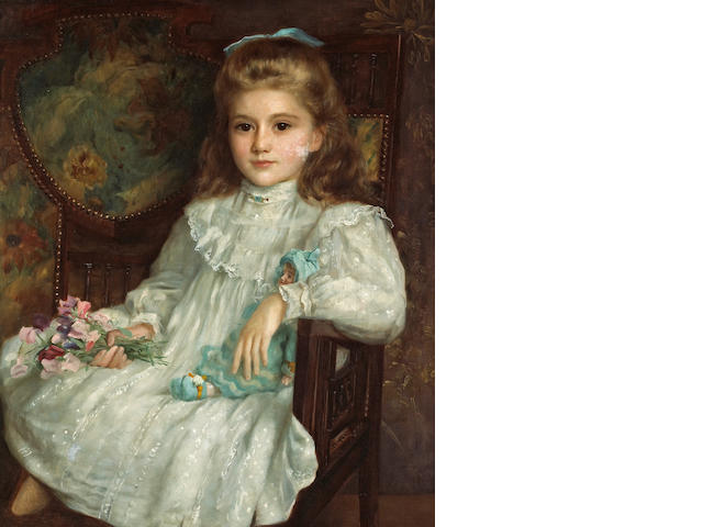 John Shirley Fox (British, born circa 1860-1939) A portrait of a young girl in a white dress holding her doll and a posy of sweet peas 30 x 25in (76.2 x 63.5cm)