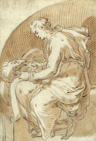 Cornelis (II) Bloemaert (Dutch, 1603-1680) St. John the Evangelist 7 3/8 x 5 1/8in (18.8 x 13.1cm)