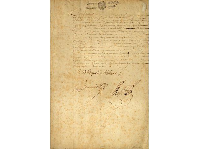 MOLIERE, JEAN BAPTISTE POQUELIN DE. 1622-1673.