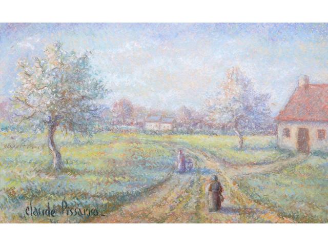 Hughes Claude Pissarro (French, born 1935) Placy au printemps 9 7/8 x 14 3/4in