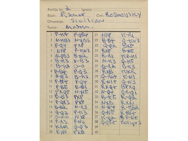 Notebook, Bobby Fischer's Tournament BK, 1959-1963?, with record of moves played and notes on competitors.