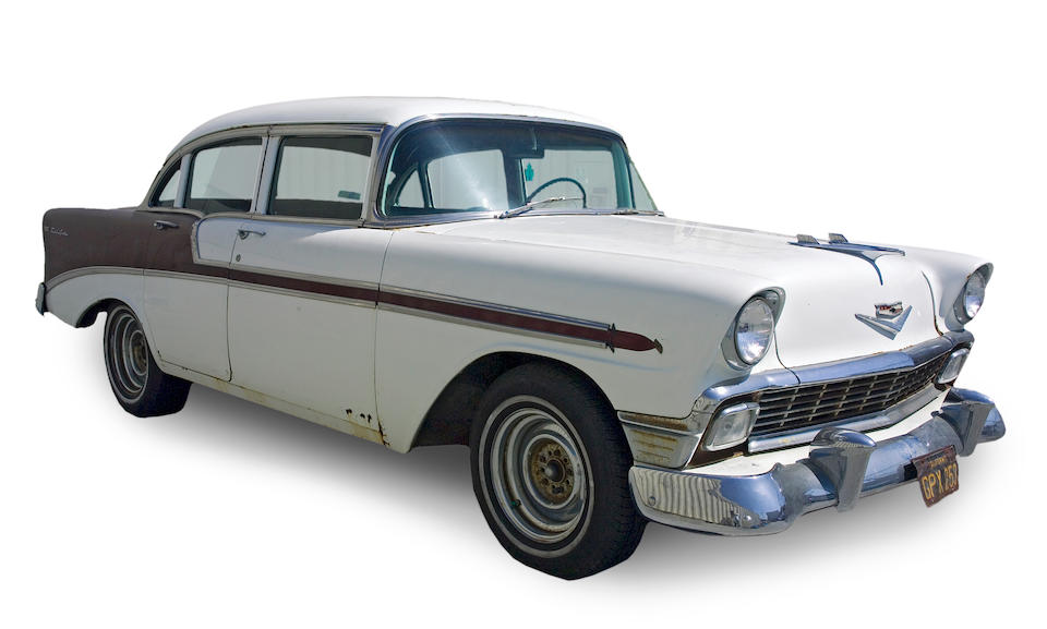 A Grateful Dead crew-owned 1956 Chevrolet Bel Air sedan used to transport Jerry Garcia and other notables [VIN # VC56L035584], 1970s-1990s