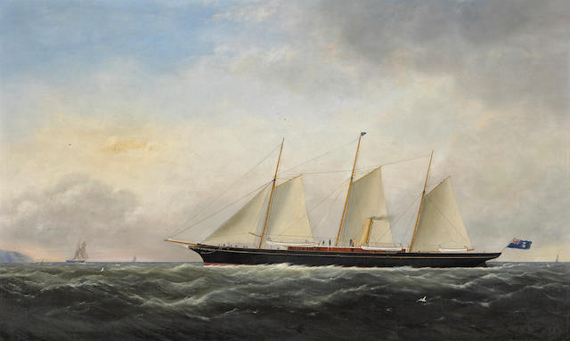 Attributed to George Mears (British, fl.1866-1895) A schooner with other shipping off Dover 25 3/4 x 42 1/4in (65.4 x 107.3cm)