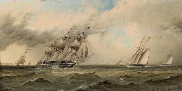 James Edward Buttersworth (British/American, 1817-1894) Sailing vessels rounding a distant headland 6 x 12in (15.2 x 30.5cm)