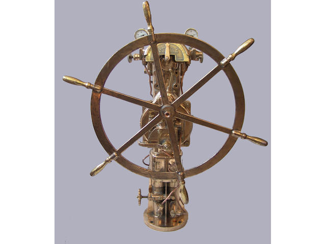 A Donkin & Co all brass ship's steering pedestal, 20th century, 53in (135cm) high