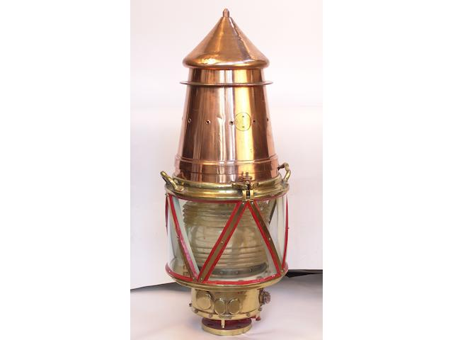 A large copper and brass lighthouse beacon 20th century, 48in (120cm) high