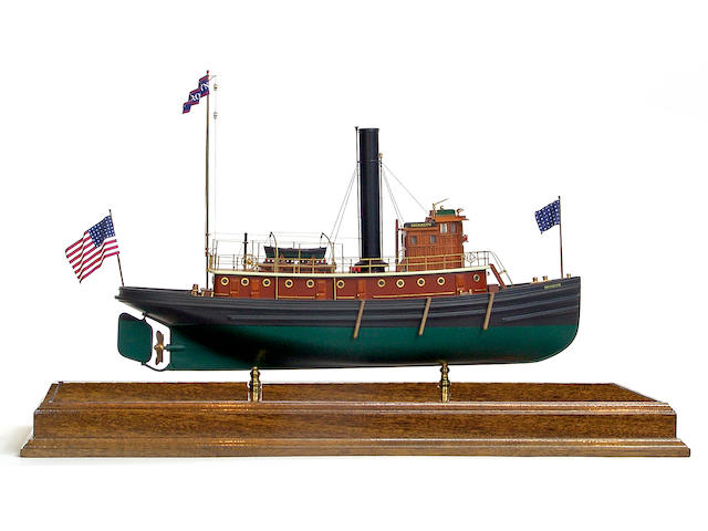 "A scale model of the New York Harbour Tugboat ""Brooklyn"" 33in long by 13in wide by 21in high"