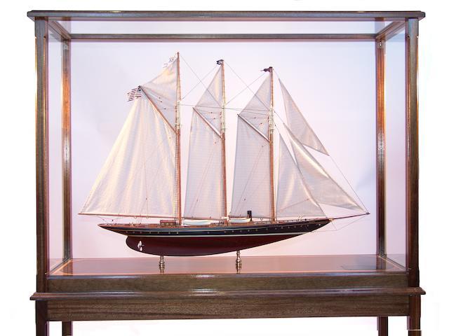 "A scale model of the schooner yacht ""Atlantic"", 52in long x 16in wide x 68in high"