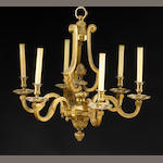A Regence style gilt bronze six light chandelier