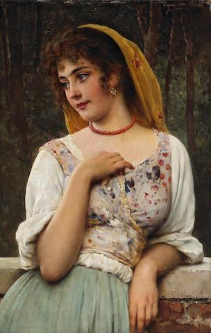 Eugen von Blaas (Austrian, 1843-1932) A pensive beauty 21 1/4 x 14in (54 x 35.5cm)